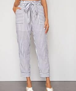 SHEIN Paperbag Waist Self Belted Striped Pants