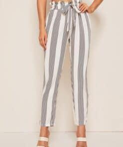 SHEIN Paperbag Waist Striped Pants