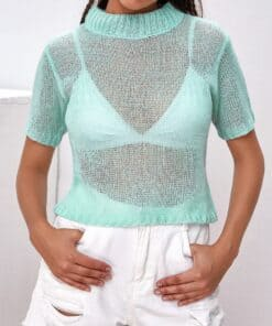 Mock Neck Sheer Knit Top Without Bra