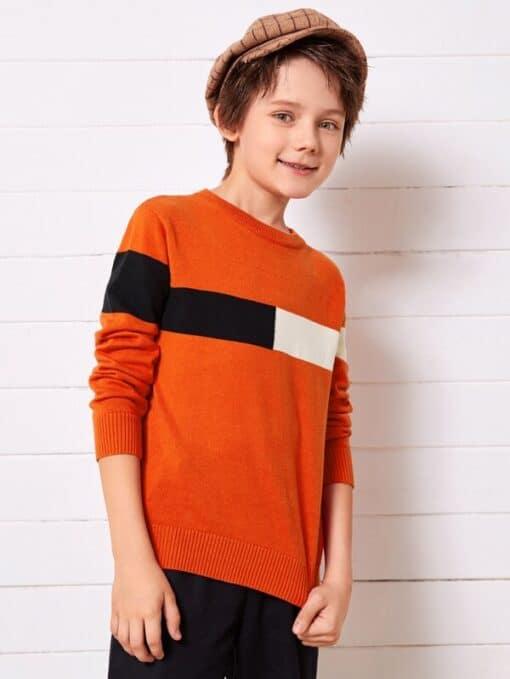 SHEIN Boys Contrast Panel Sweater