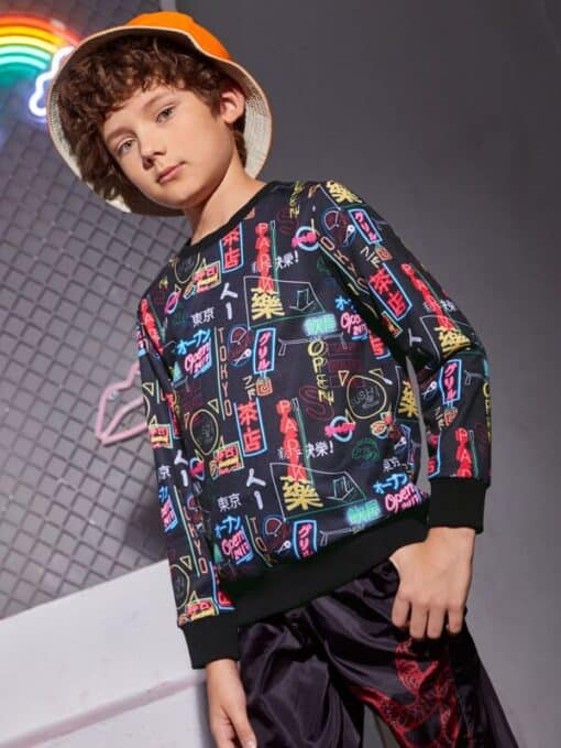 SHEIN Boys Letter Graphic Pullover