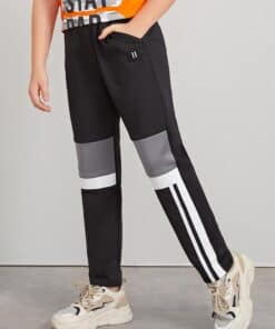 SHEIN Boys Number Patch Detail Colorblock Pants