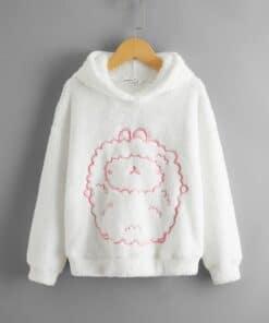 SHEIN Girls Cartoon Embroidered Drop Shoulder Teddy Hoodie