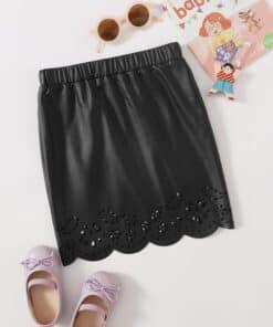 SHEIN Girls Elastic Waist Laser Cut Scallop Hem Leather Look Skirt