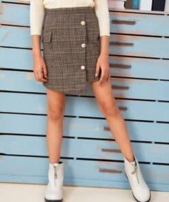 SHEIN Girls Flap Pocket Side Button Front Asymmetrical Skirt