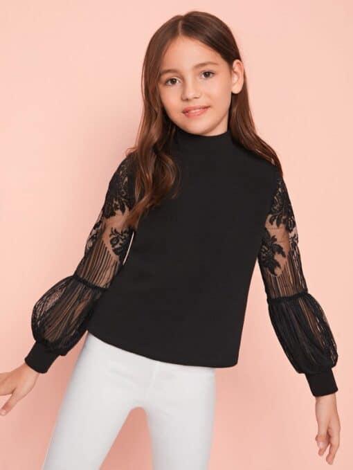SHEIN Girls Lace Lantern Sleeve Zip Back Top