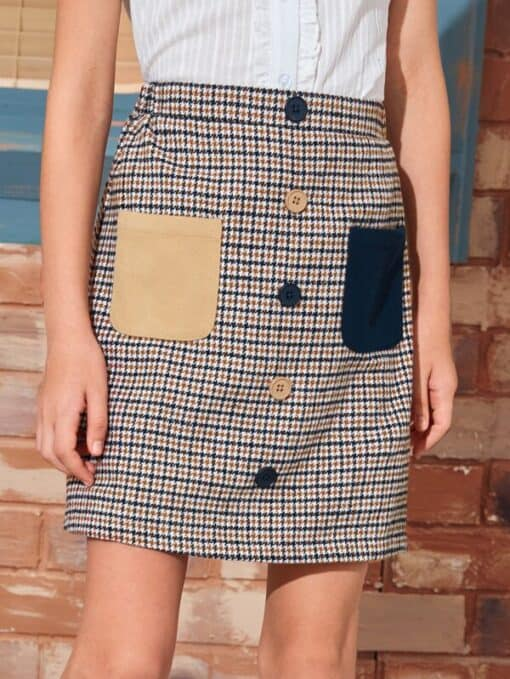 SHEIN Girls Pocket Patched Button Front Houndstooth Skirt
