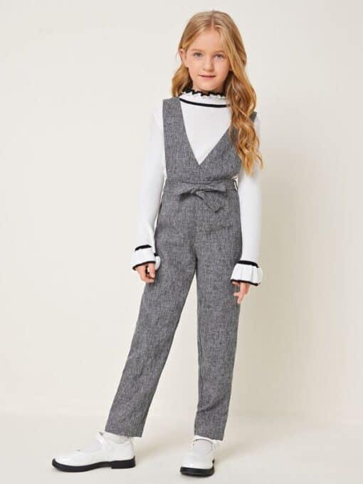 SHEIN Girls Surplice Neck Belted Linen Look Overall Jumpsuit