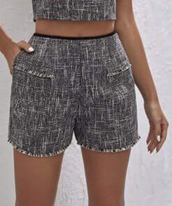 Shein Raw Hem Tweed Shorts