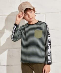 SHEIN Boys Letter Graphic Tape Striped Tee