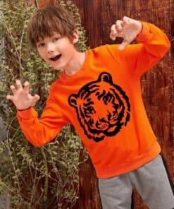 SHEIN Boys Neon Orange Tiger Print Pullover