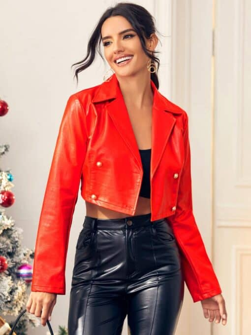 SHEIN Double Breasted PU Leather Crop Jacket