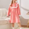SHEIN Girls Bow Front Ruffle Trim Teddy Nightdress