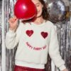 SHEIN Girls Christmas Sequin Heart Pattern Letter Embroidery Teddy Pullover
