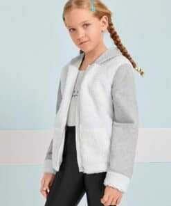 SHEIN Girls Contrast Teddy Panel Zipper Placket Hooded Jacket