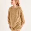 SHEIN Girls Drop Shoulder Teddy Sweatshirt Dress