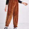 SHEIN Girls Elastic Waist Ruffle Hem Velvet Pants
