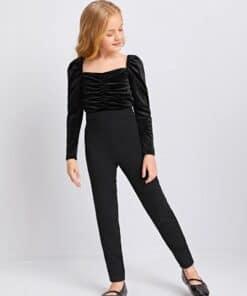 SHEIN Girls Gigot Sleeve Ruched Detail Velvet Bodice Jumpsuit