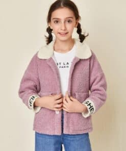 SHEIN Girls Letter Embroidery Button Front Teddy Jacket