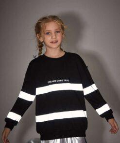 SHEIN Girls Reflective Tape Drop Shoulder Pullover