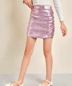 SHEIN Girls Ruched Detail PU Leather Skirt