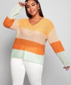 SHEIN Plus Drop Shoulder Colorblock Sweater