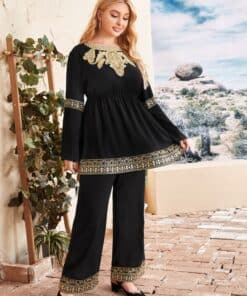 SHEIN Plus Embroidered Applique Bell Sleeve Peplum Top and Pants Set
