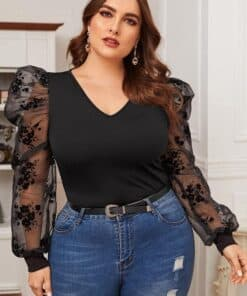 SHEIN Plus Flocked Mesh Gigot Sleeve Form Fitted Top