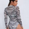 SHEIN Raglan Sleeve Zebra Striped Sheer Mesh Bodysuit Without Lingerie