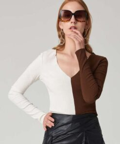 SHEIN V-neck Two Tone Form Fitted Tee