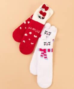 Shein 2pairs Christmas Bow Knot Decor Socks