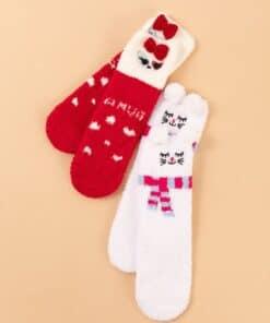 Shein 2pairs Christmas Bow Knot Decor Socks