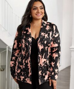 shein Plus All Over Print Double Breasted Blazer