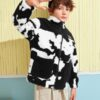 SHEIN Boys Patched Detail Cow Print Teddy Jacket