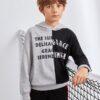 SHEIN Boys Slogan Graphic Two Tone Hoodie