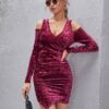SHEIN Cold Shoulder Ruched Velvet Dress