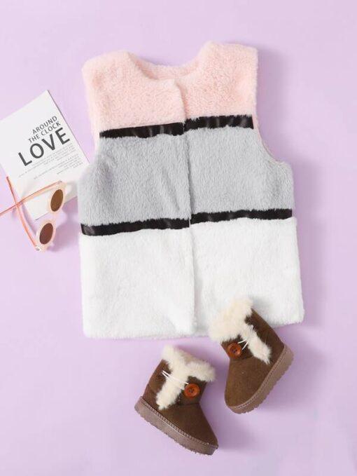 SHEIN Girls Contrast Tape Colorblock Faux Fur Coat