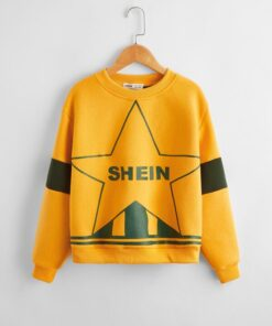 SHEIN Girls Star and Letter Graphic Colorblock Pullover
