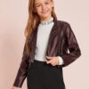 SHEIN Girls Zipper Front PU Leather Moto Jacket