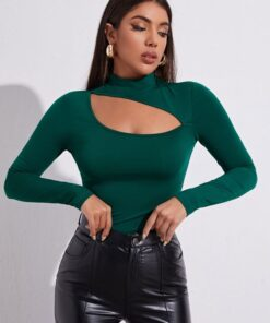 SHEIN Mock-Neck Cut Out Front Top