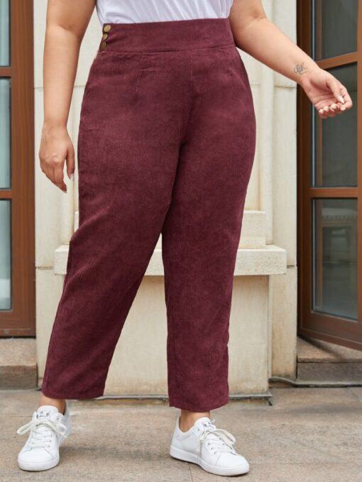 SHEIN Plus Button and Zipper Side Fold Pleated Cord Pants