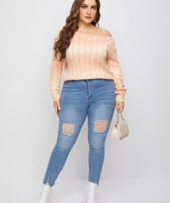 SHEIN Plus Ombre Ribbed Knit Sweater