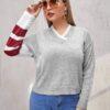SHEIN Plus Striped Sleeve Sweater