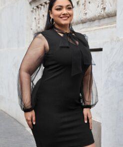 SHEIN Plus Tie Neck Sheer Mesh Puff Sleeve Dress