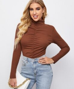 SHEIN Rolled Neck Ruched Detail Ribbed Top