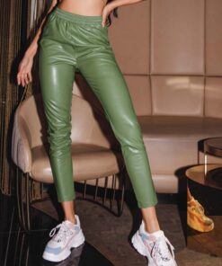 SHEIN Solid PU Leather Cropped Pants