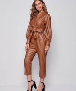 SHEIN Surplice Neck Knot Front PU Leather Jumpsuit