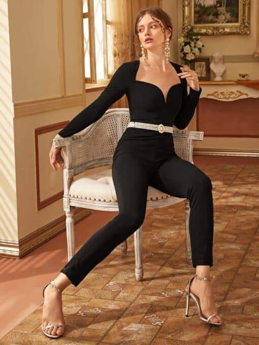 SHEIN Sweetheart Neck Solid Jumpsuit