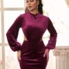 Shein Cutout Waist Lantern Sleeve Velvet Bodycon Dress