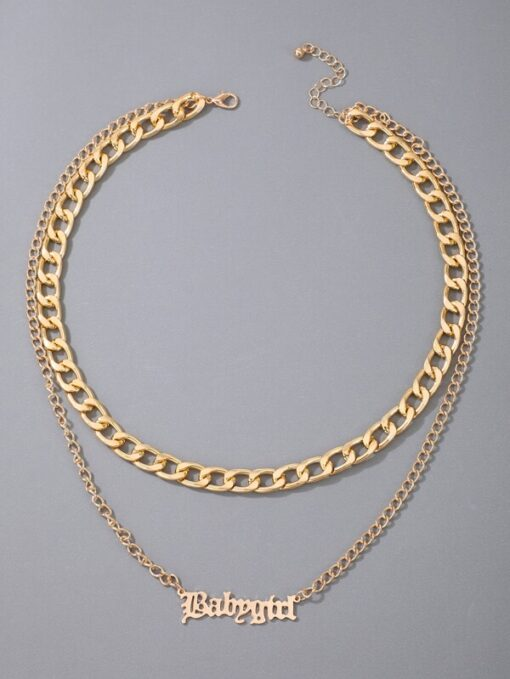 Shein Letter Layered Necklace